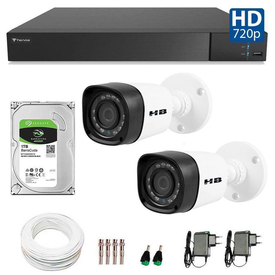 Kit 2 Câmeras de Segurança Bullet HD 720p HB Tech + DVR Flex Tecvoz + HD para Gravação 1TB + Acessórios  - Tudo Forte