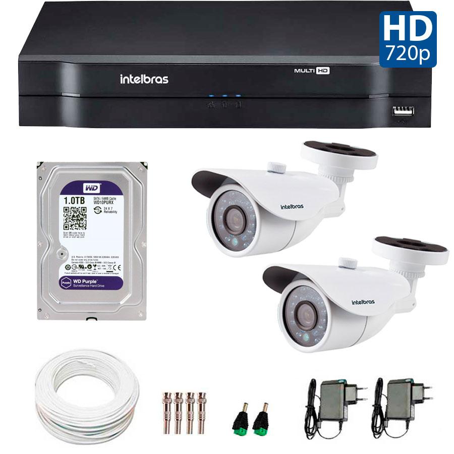 Kit 2 Câmeras de Segurança HD 720p Intelbras VM 3120 IR G4 + DVR Intelbras Multi HD + HD para Gravação + Acessórios