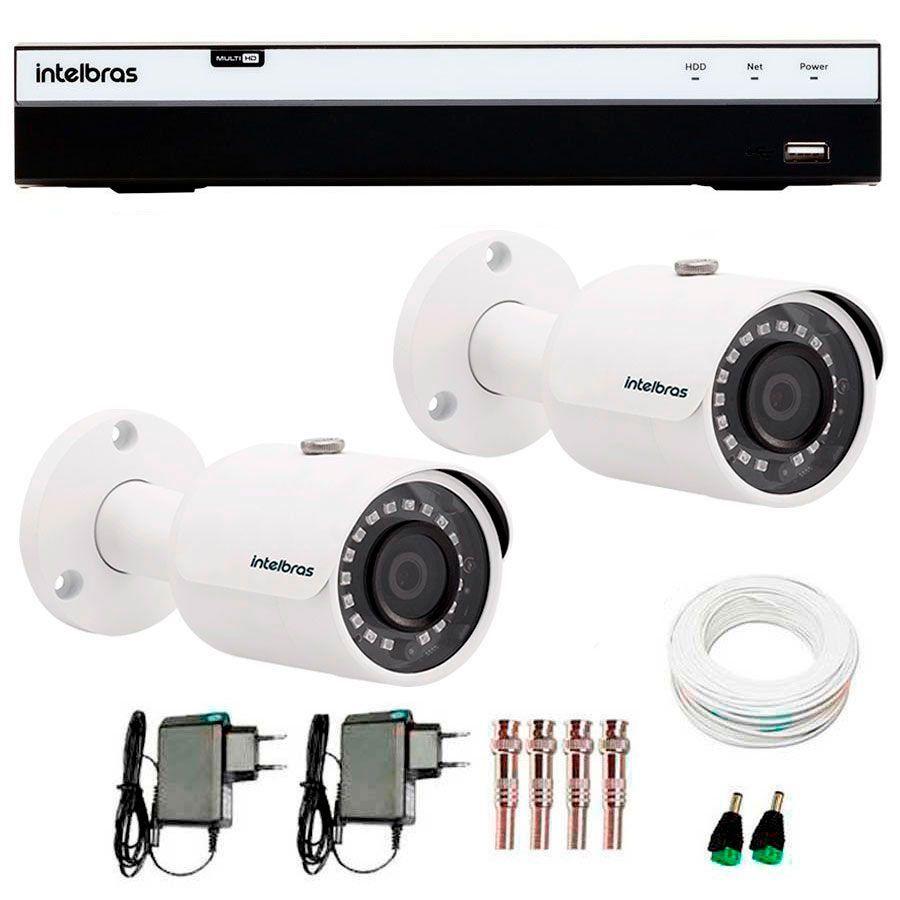 Kit 2 Câmeras de Segurança Full HD 1080p Intelbras VHD 3230 + DVR Intelbras Full HD 8 Ch + Acessórios