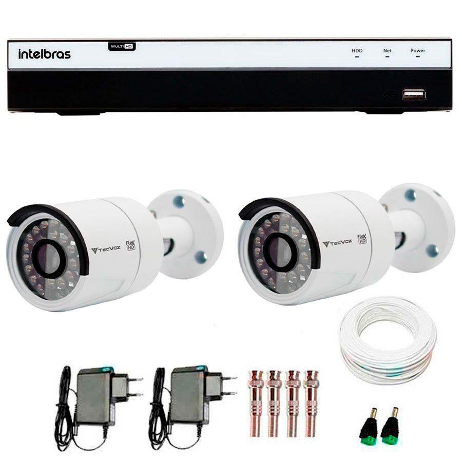 Kit 2 Câmeras de Segurança Full HD 1080p QCB 236 Tecvoz + DVR Intelbras Full HD + Acessórios