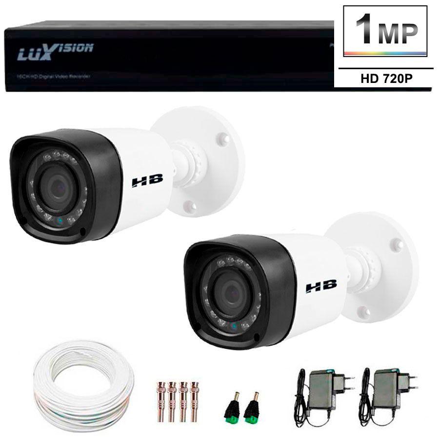 Kit 2 Câmeras de Segurança HB Tech HD 720p + DVR Luxvision All HD 5 em 1 ECD + Acessórios  - Tudo Forte