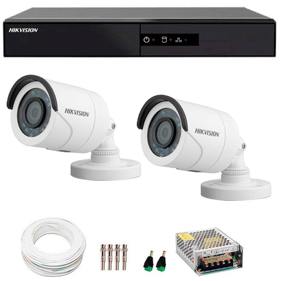 Kit 2 Câmeras de Segurança HD 720p Hikvision 10 metros + DVR Hikvision + Acessórios