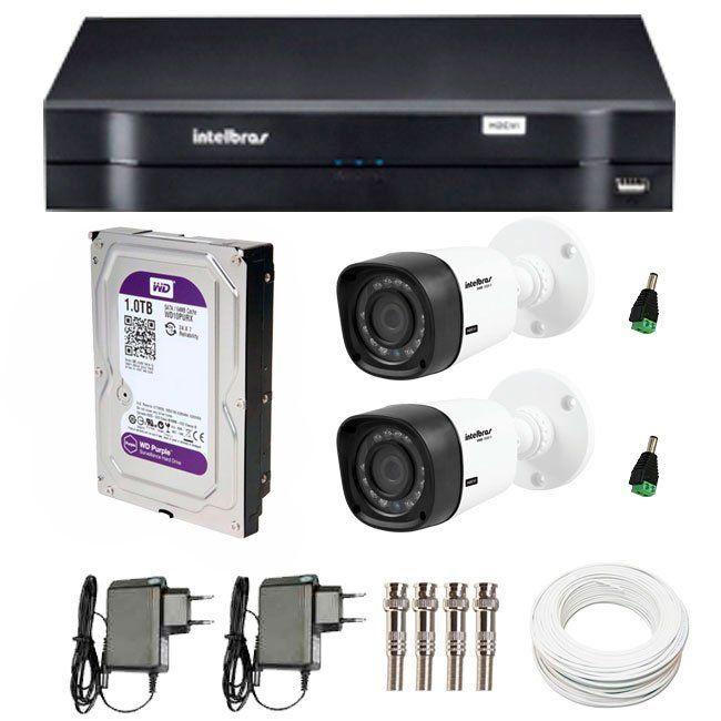 Kit 2 Câmeras de Segurança HD 720p Intelbras VHD 1120B G4 + DVR Intelbras Multi HD + HD WD Purple 1TB + Acessórios
