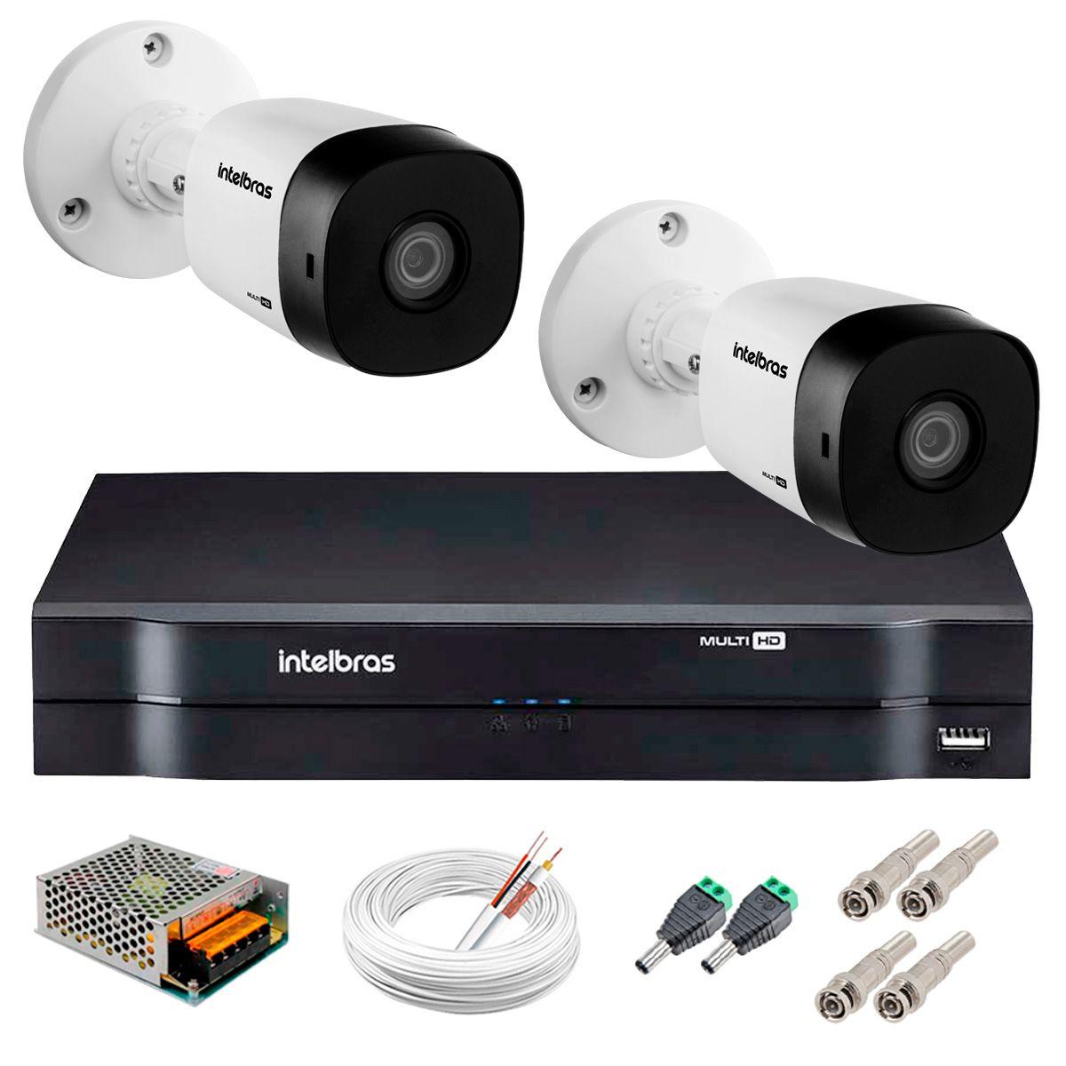Kit 2 Câmeras VHD 3130 B G5 + DVR Intelbras + App Grátis de Monitoramento, Câmeras HD 720p 30m Infravermelho de Visão Noturna Intelbras + Fonte, Cabos e Acessórios  - Tudo Forte