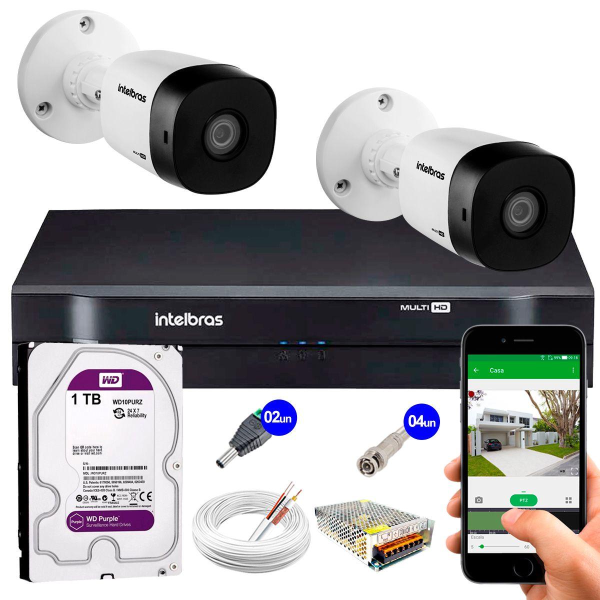 Kit 2 Câmeras VHD 3130 B G5 + DVR Intelbras + HD 1TB para Armazenamento +  App Grátis de Monitoramento, Câmeras HD 720p 30m Infravermelho de Visão Noturna Intelbras + Fonte, Cabos e Acessórios  - Tudo Forte