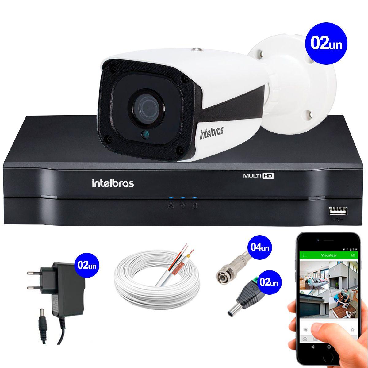 Kit Intelbras 2 Câmeras HD 720p VMH 3130 B + DVR Intelbras + Acessórios  - Tudo Forte