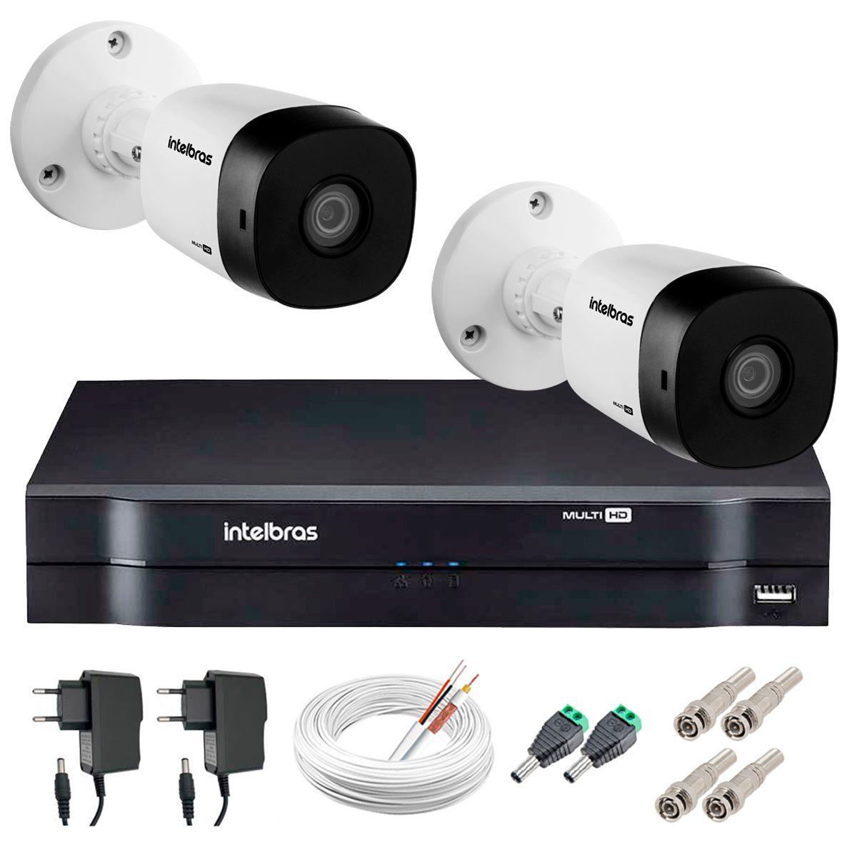 Kit 2 Câmeras VHD 1010 B G5 + DVR Intelbras + App Grátis de Monitoramento, Câmeras HD 720p 10m Infravermelho de Visão Noturna Intelbras + Fonte, Cabos e Acessórios  - Tudo Forte