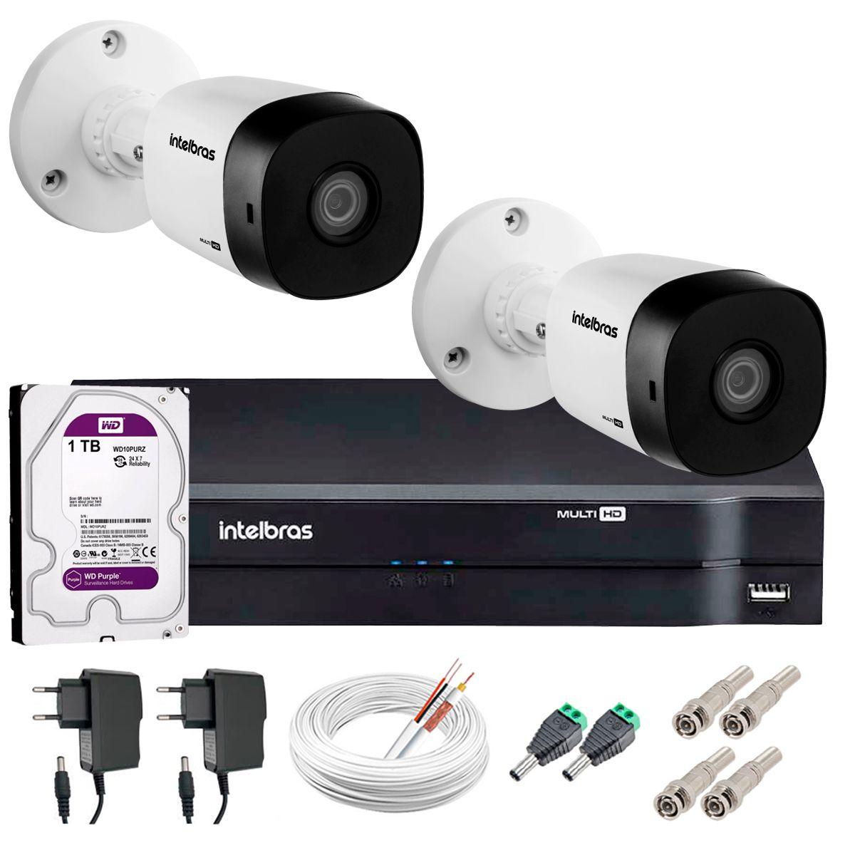 Kit 2 Câmeras VHD 1120 B G5 + DVR Intelbras + HD 1TB para Armazenamento + App Grátis de Monitoramento, Câmeras HD 720p 20m Infravermelho de Visão Noturna Intelbras + Fonte, Cabos e Acessórios  - Tudo Forte