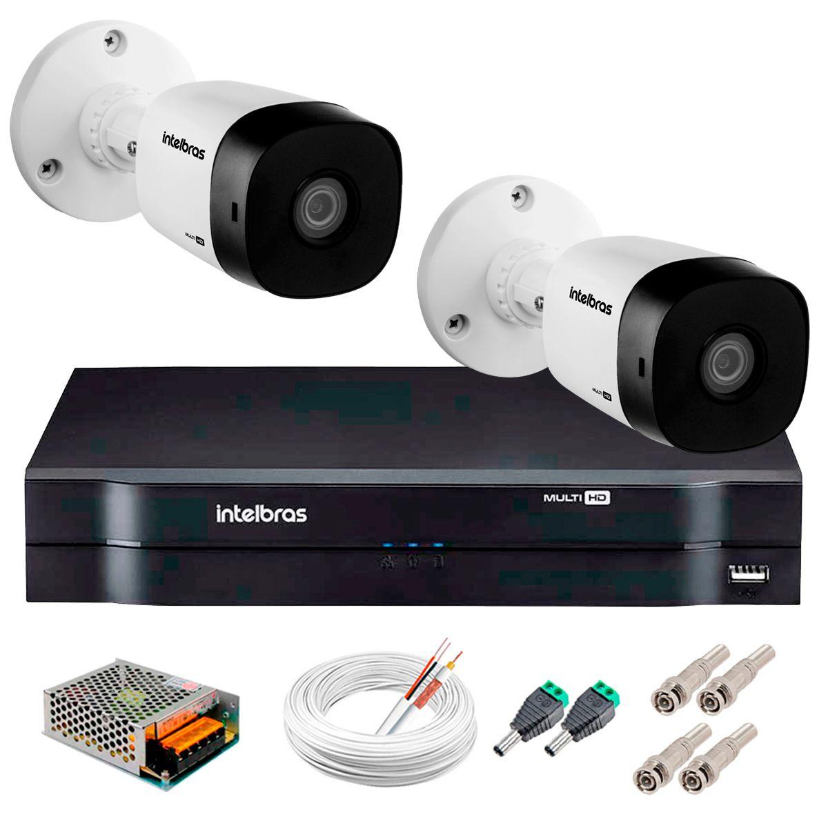 Kit 2 Câmeras VHD 3120 B G5 + DVR Intelbras + App Grátis de Monitoramento, Câmeras HD 720p 20m Infravermelho de Visão Noturna Intelbras + Fonte, Cabos e Acessórios  - Tudo Forte