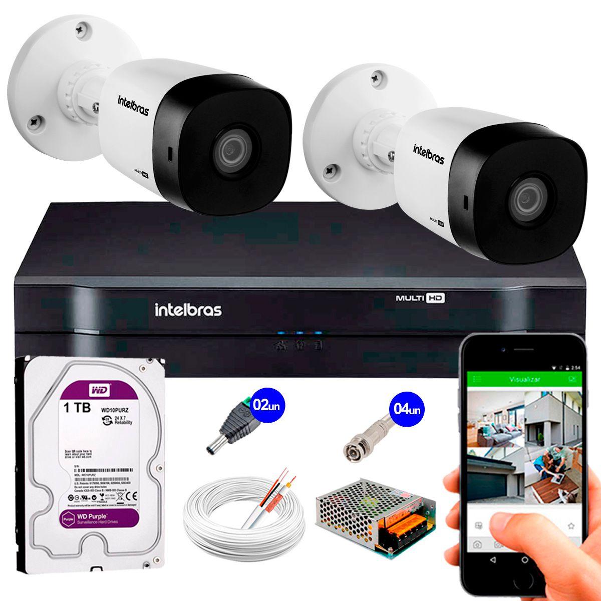 Kit 2 Câmeras VHD 3120 B G5 + DVR Intelbras + HD 1TB para Armazenamento + App Grátis de Monitoramento, Câmeras HD 720p 20m Infravermelho de Visão Noturna Intelbras + Fonte, Cabos e Acessórios  - Tudo Forte