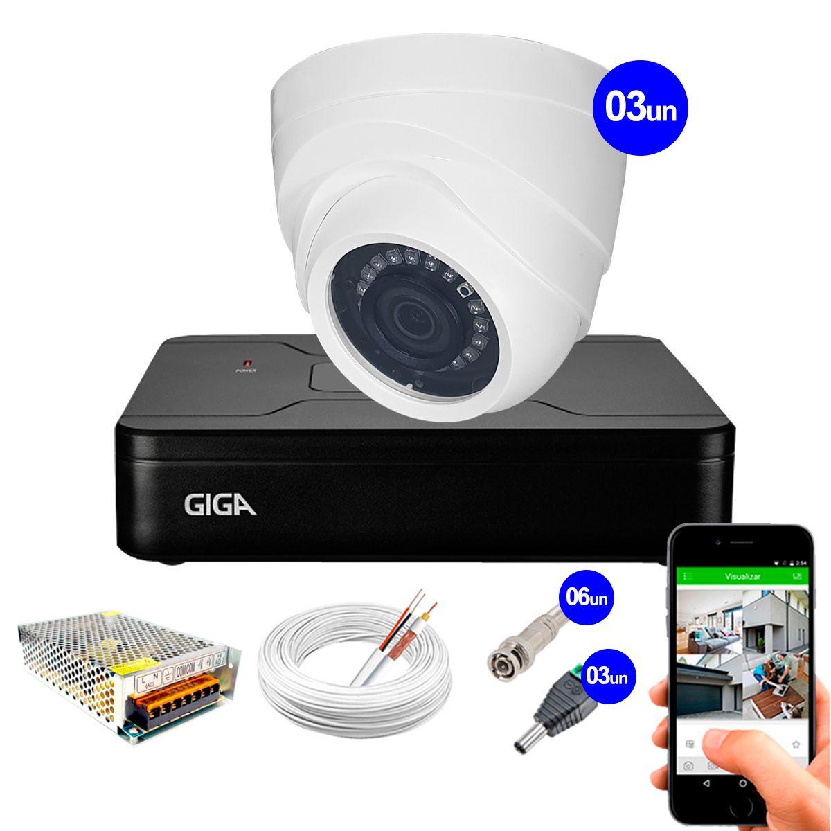 Kit Giga Security 3 Câmeras HD 720p GS0019 + DVR Lite + Acessórios  - Tudo Forte