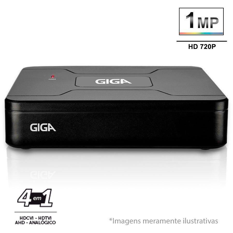 Kit 3 Câmeras de Segurança 1MP HD 720p Giga Security GS0012 + DVR HD 720p 4 em 1 Giga Security + Acessórios