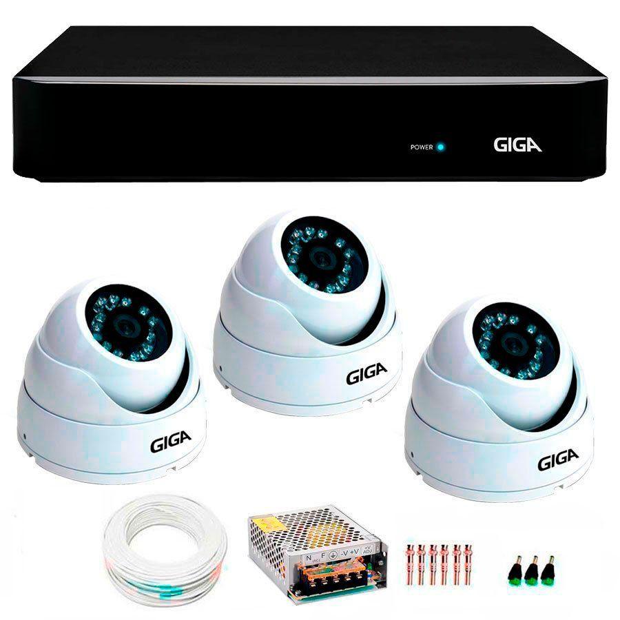 Kit 3 Câmeras de Segurança 4 Megapixels Ultra HD 2k Giga Security GS0041  + DVR Giga Security 4MP + Acessórios  - Tudo Forte