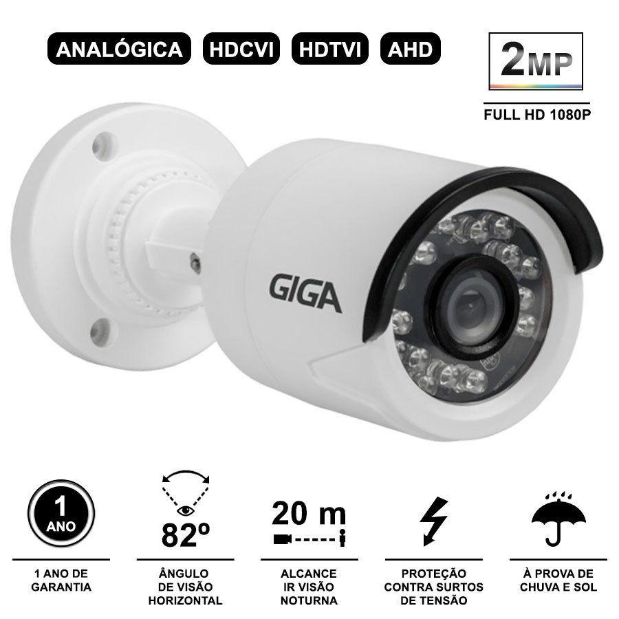 Kit 3 Câmeras de Segurança Full HD 1080p Giga Security GS0027  + DVR Giga Security 4MP + Acessórios