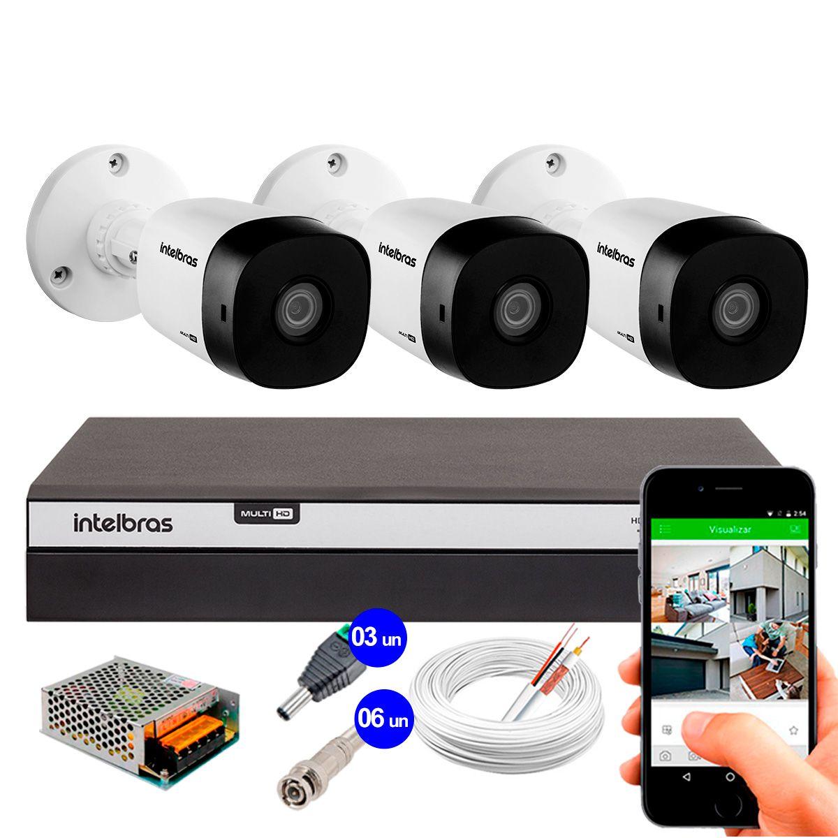 Kit 3 Câmeras de Segurança Full HD 1080p Intelbras VHD 1220B IR + DVR Intelbras Full HD 4 Ch + Acessórios  - Tudo Forte