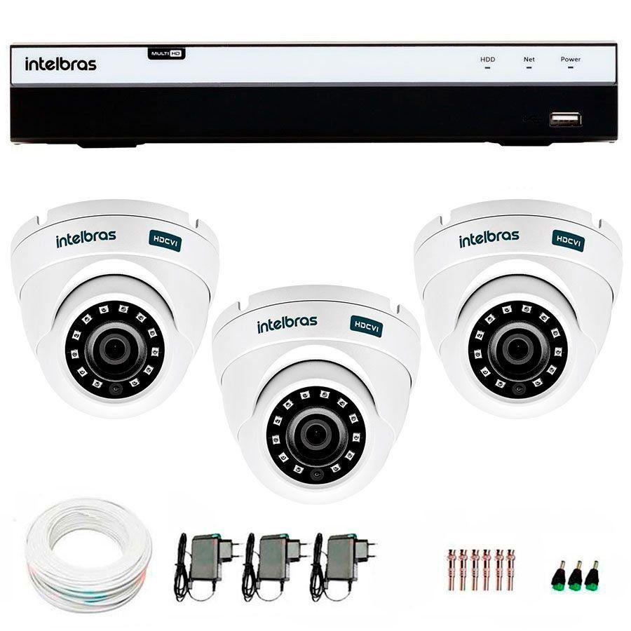 Kit 3 Câmeras de Segurança Full HD 1080p VHD 3220D G4 + DVR Intelbras Full HD + Acessórios