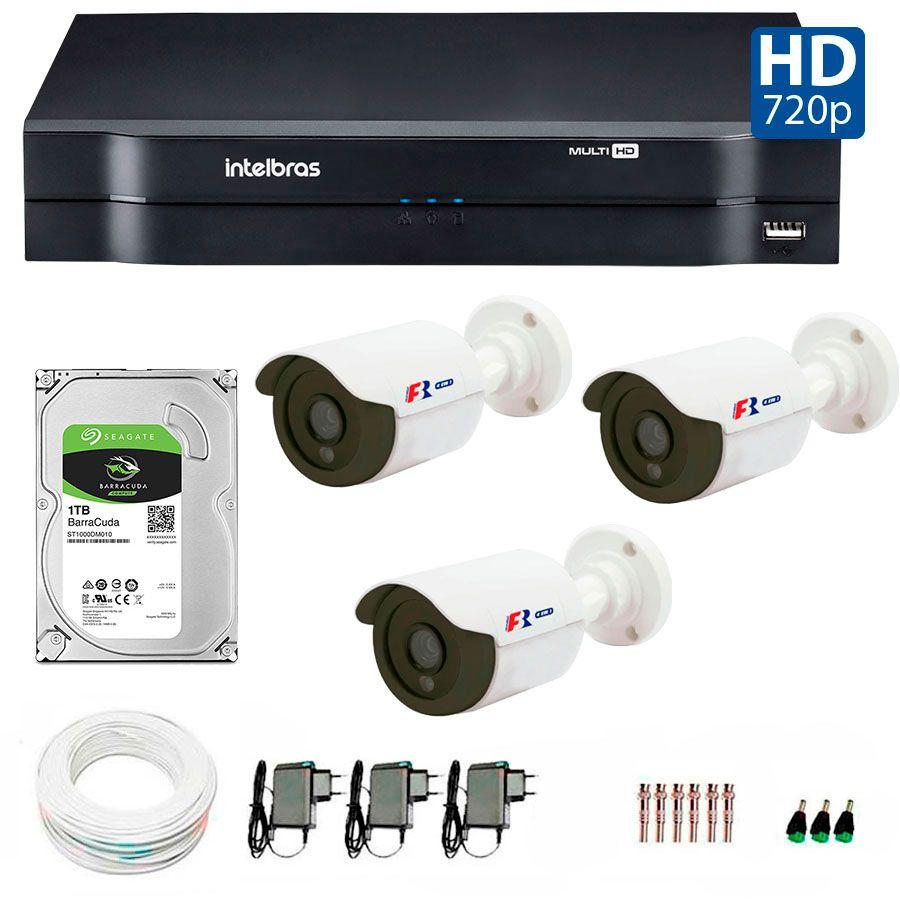 Kit 3 Câmeras de Segurança HD 720p Focusbras + DVR Intelbras Multi HD + HD para Gravação 1TB + Acessórios