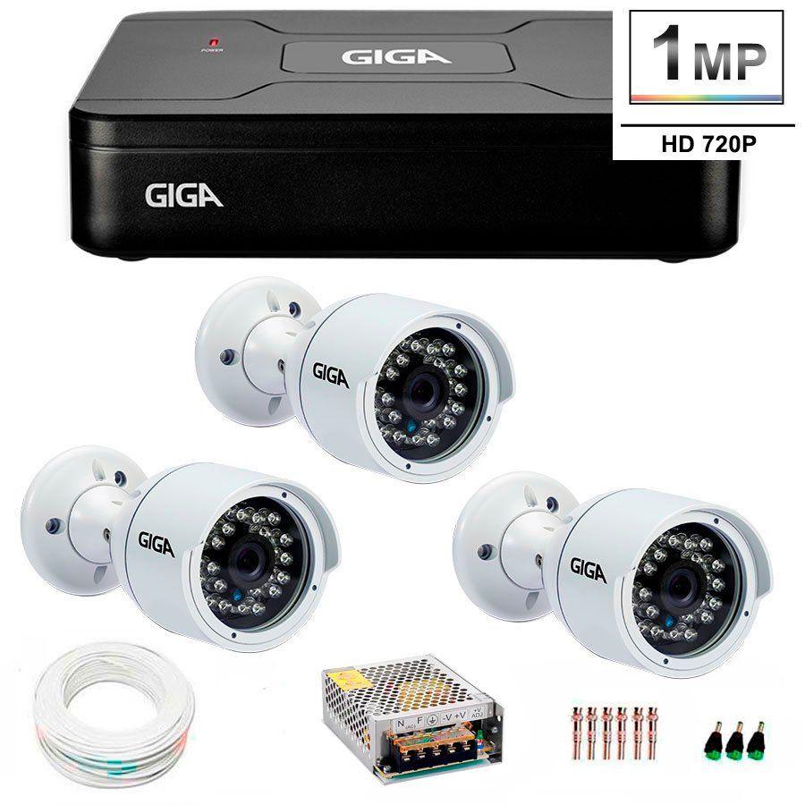 Kit 3 Câmeras de Segurança HD 720p Giga Security GS0016  + DVR Giga Security Multi HD + Acessórios