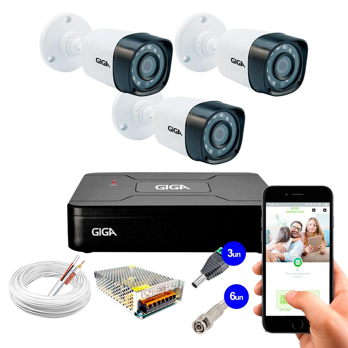 Kit 3 Câmeras de Segurança HD 720p Giga Security GS0018 + DVR Giga Security Multi HD + Acessórios  - Tudo Forte