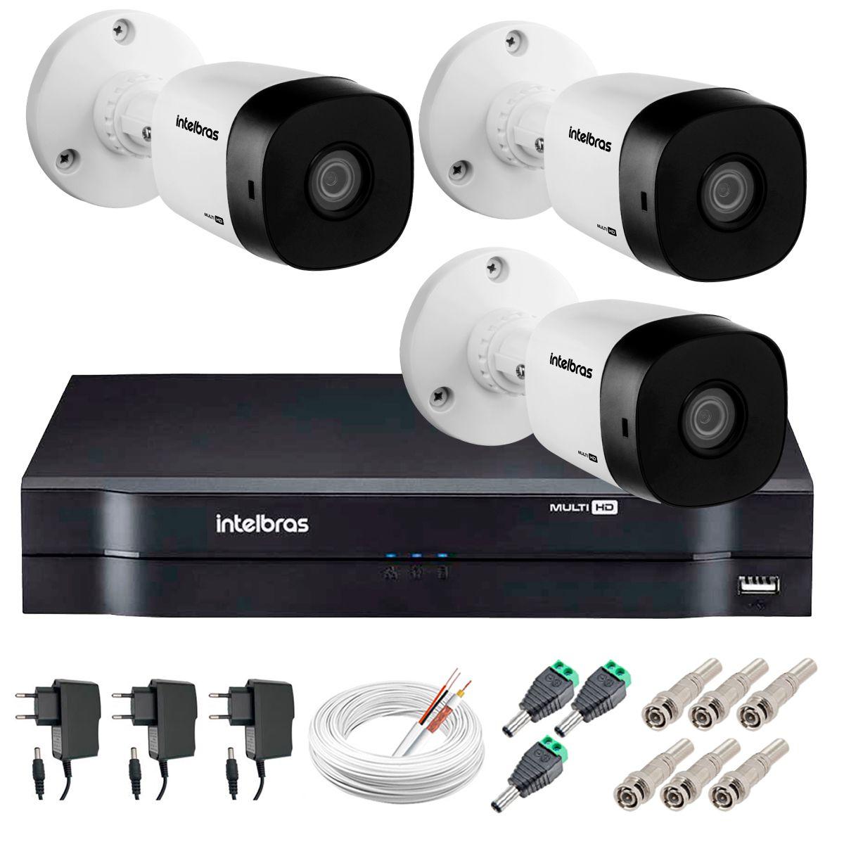 Kit 3 Câmeras VHD 1120 B G5 + DVR Intelbras + App Grátis de Monitoramento, Câmeras HD 720p 20m Infravermelho de Visão Noturna Intelbras + Fonte, Cabos e Acessórios  - Tudo Forte