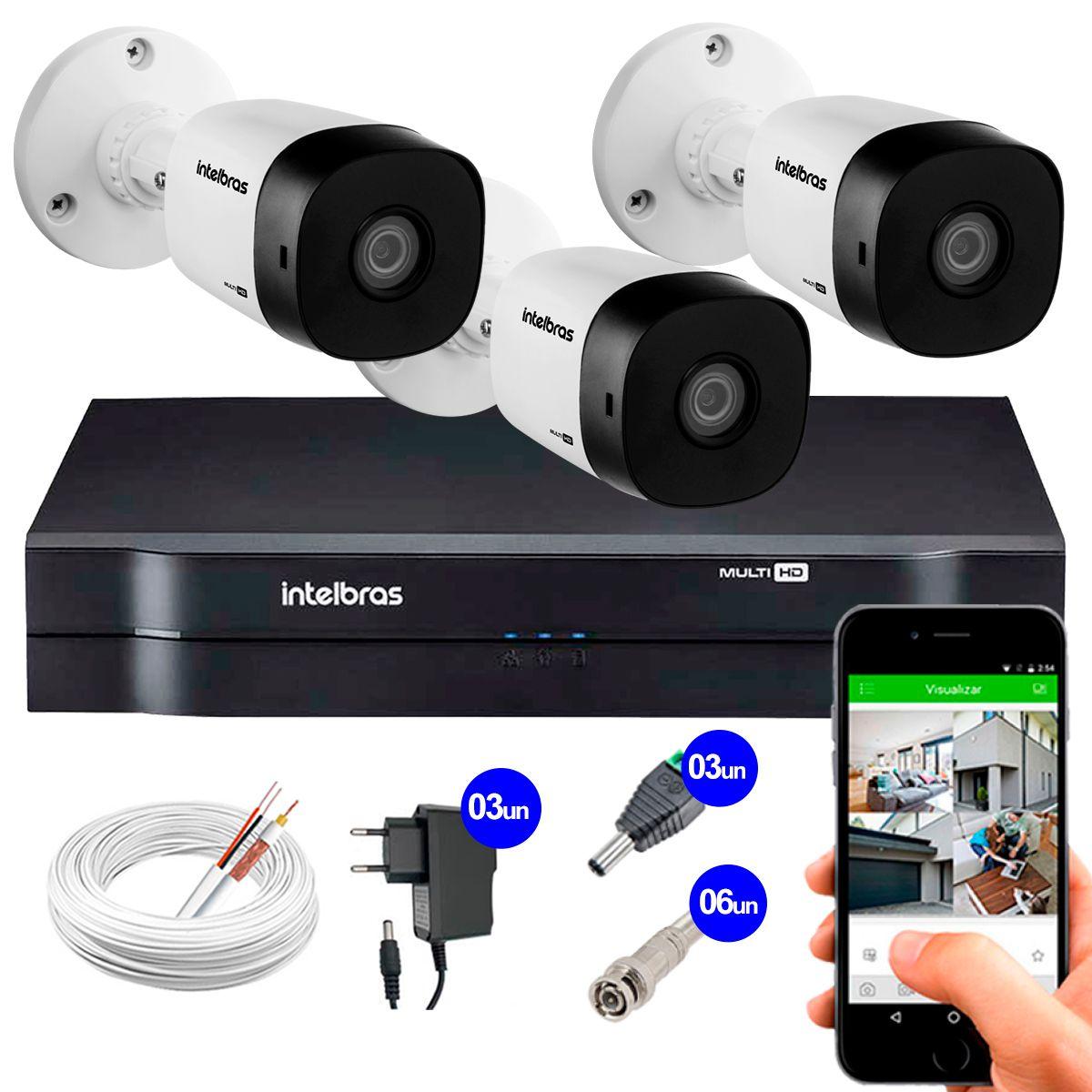 Kit 3 Câmeras VHD 1010 B G5 + DVR Intelbras + App Grátis de Monitoramento, Câmeras HD 720p 10m Infravermelho de Visão Noturna Intelbras + Fonte, Cabos e Acessórios  - Tudo Forte
