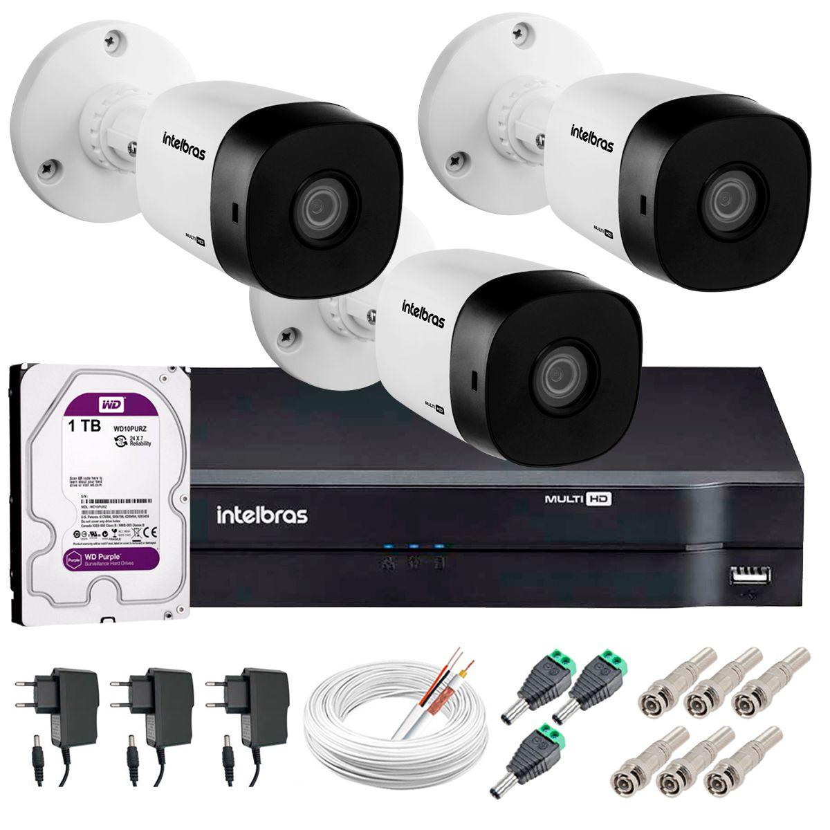 Kit 3 Câmeras VHD 1010 B G5 + DVR Intelbras + HD 1TB para Armazenamento + App Grátis de Monitoramento, Câmeras HD 720p 10m Infravermelho de Visão Noturna Intelbras + Fonte, Cabos e Acessórios  - Tudo Forte