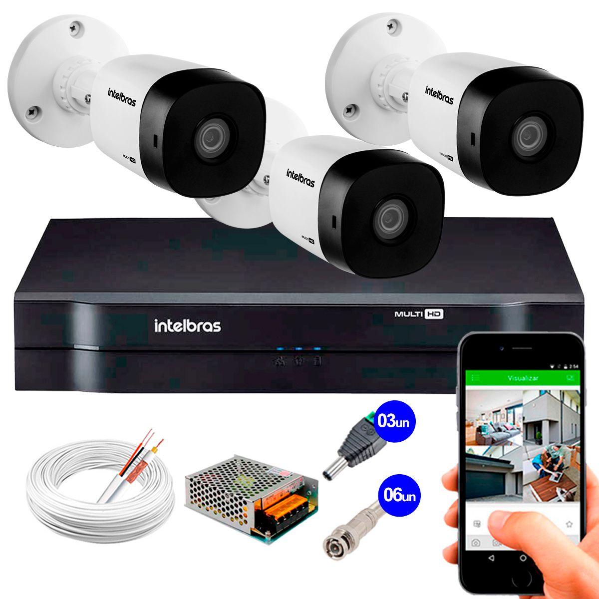 Kit 3 Câmeras VHD 3120 B G5 + DVR Intelbras + App Grátis de Monitoramento, Câmeras HD 720p 20m Infravermelho de Visão Noturna Intelbras + Fonte, Cabos e Acessórios  - Tudo Forte