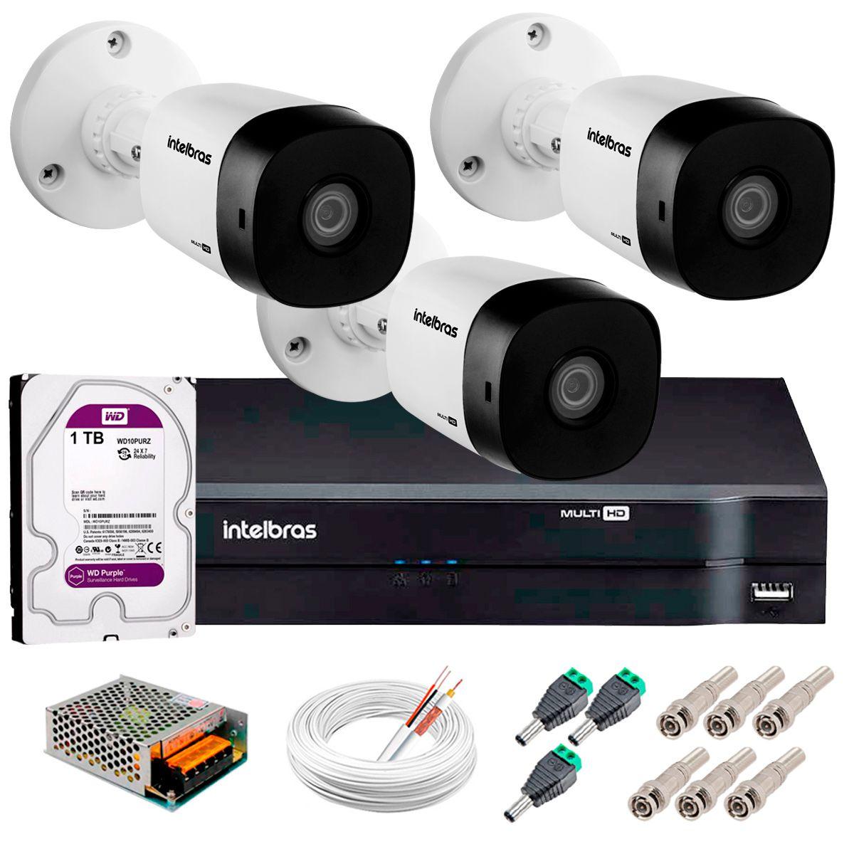 Kit 3 Câmeras VHD 3120 B G5 + DVR Intelbras + HD 1TB para Armazenamento + App Grátis de Monitoramento, Câmeras HD 720p 20m Infravermelho de Visão Noturna Intelbras + Fonte, Cabos e Acessórios  - Tudo Forte