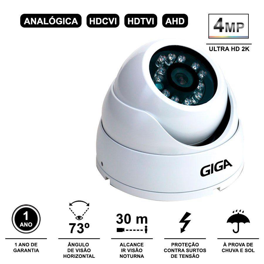 Kit 4 Câmeras de Segurança 4 Megapixels Ultra HD 2k Giga Security GS0041  + DVR Giga Security 4MP + Acessórios