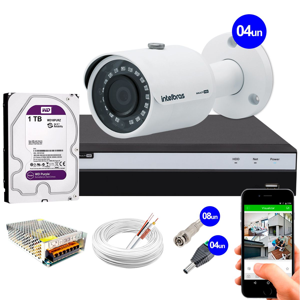 Kit 4 Câmeras de Segurança 4MP 2k Intelbras VHD 3430 B + DVR Intelbras 4K + HD WD Purple + Acessórios  - Tudo Forte