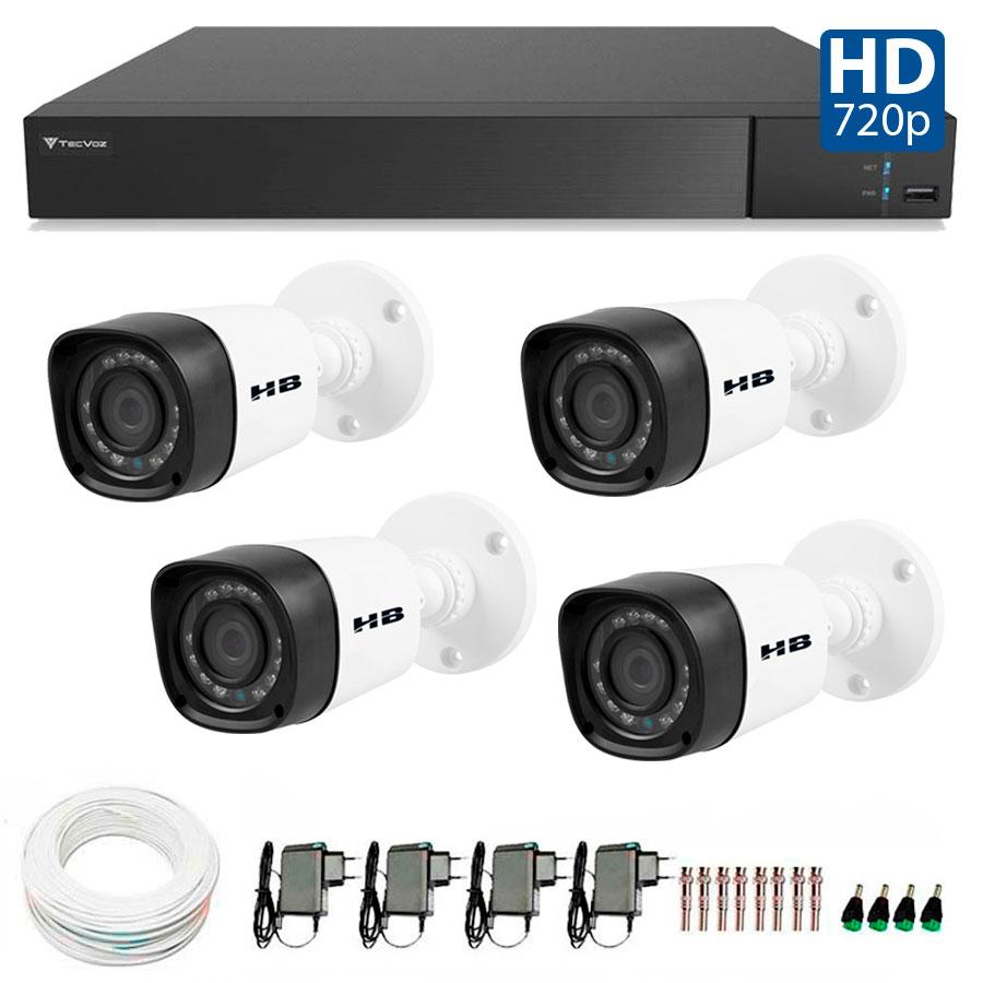 Kit 4 Câmeras de Segurança Bullet HD 720p HB Tech + DVR Flex Tecvoz + Acessórios