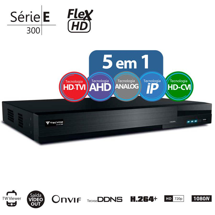 Kit 4 Câmeras de Segurança Bullet HD 720p HB Tech + DVR Flex Tecvoz + Acessórios  - Tudo Forte