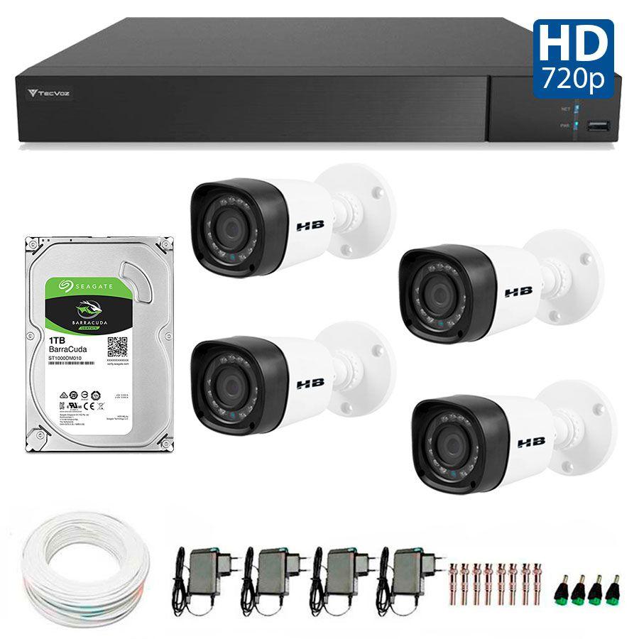 Kit 4 Câmeras de Segurança Bullet HD 720p HB Tech + DVR Flex Tecvoz + HD para Gravação 1TB + Acessórios