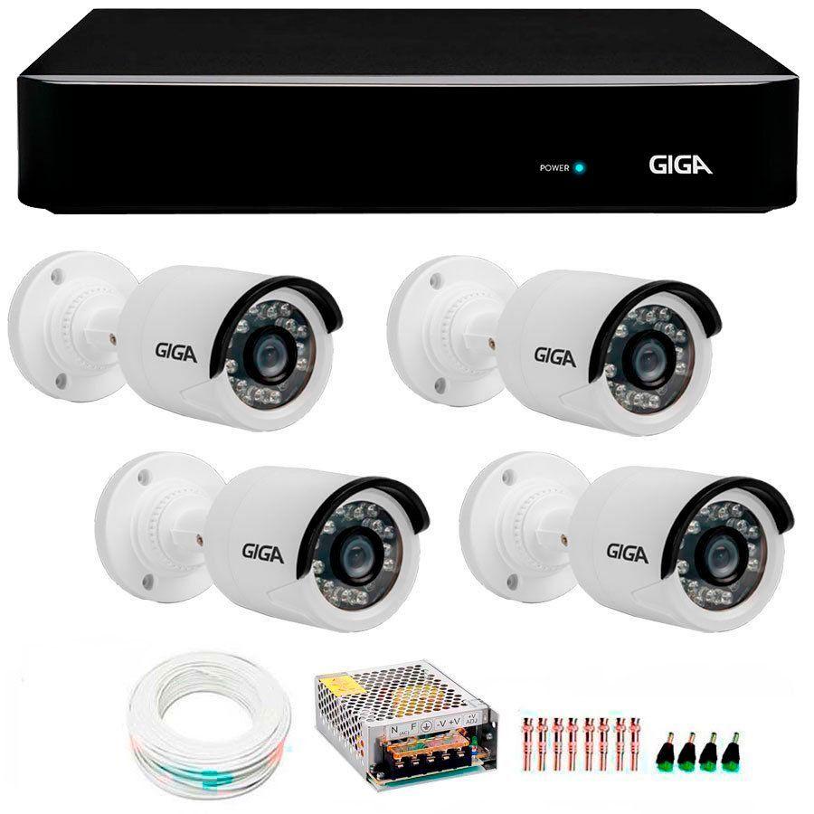 Kit 4 Câmeras de Segurança Full HD 1080p Giga Security GS0027  + DVR Giga Security 4MP + Acessórios
