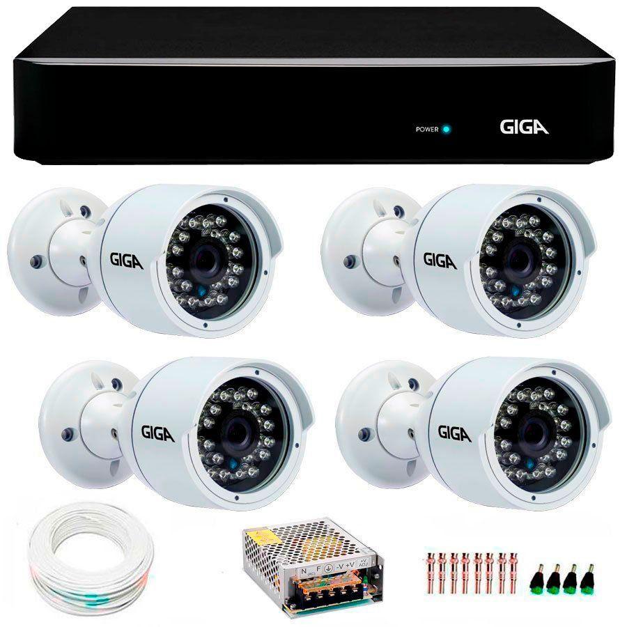 Kit 4 Câmeras de Segurança Full HD 1080p Giga Security GS0029  + DVR Giga Security 4MP + Acessórios