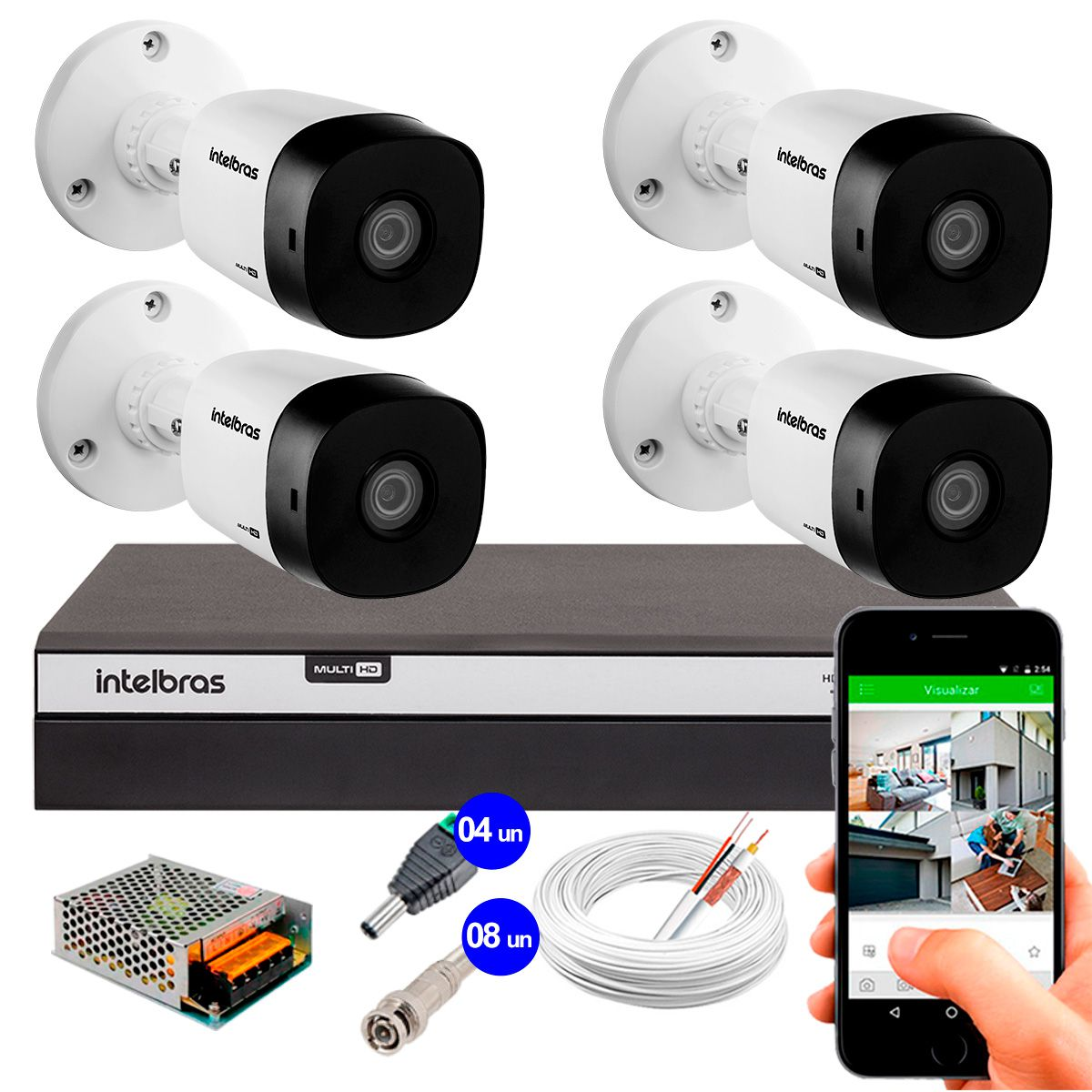 Kit 4 Câmeras de Segurança Full HD 1080p Intelbras VHD 1220B IR + DVR Intelbras Full HD 4 Ch + Acessórios  - Tudo Forte