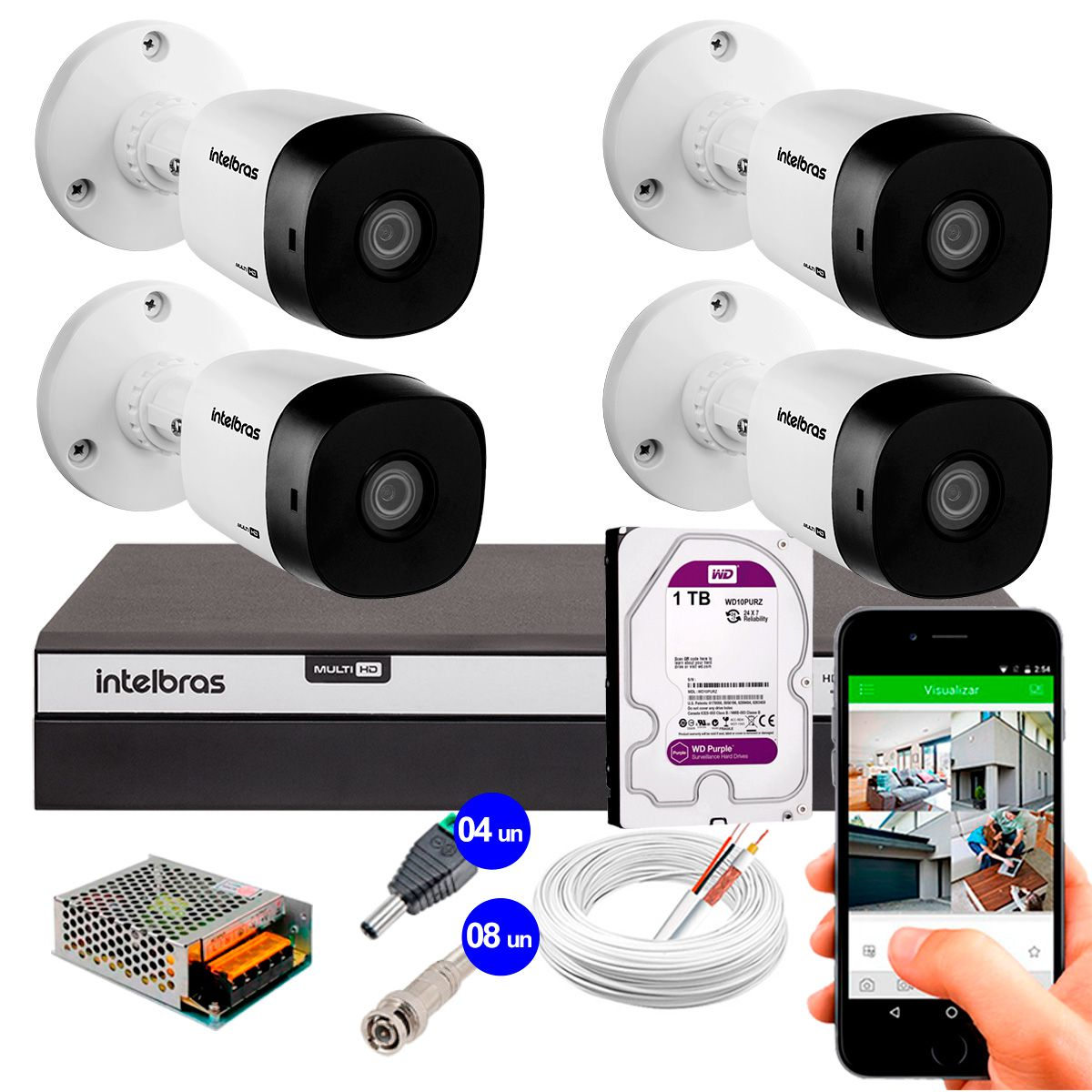 Kit 4 Câmeras de Segurança Full HD 1080p VHD 1220B IR + DVR Intelbras Full HD + HD WD Purple 1TB + Acessórios  - Tudo Forte