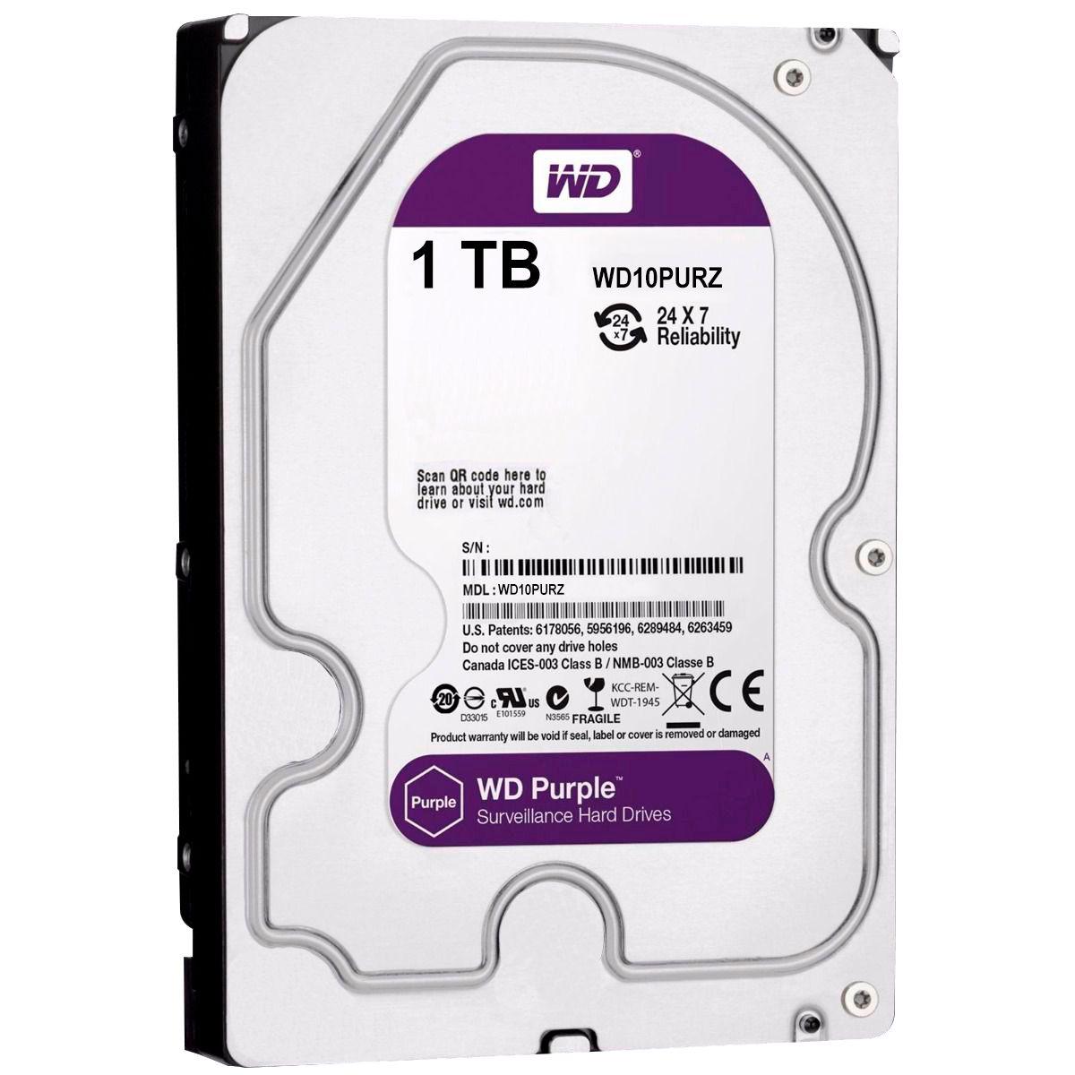 Kit 4 Câmeras de Segurança Full HD 1080p VHD 3230B G4 + DVR Intelbras Full HD + HD WD Purple 1TB + Acessórios  - Tudo Forte
