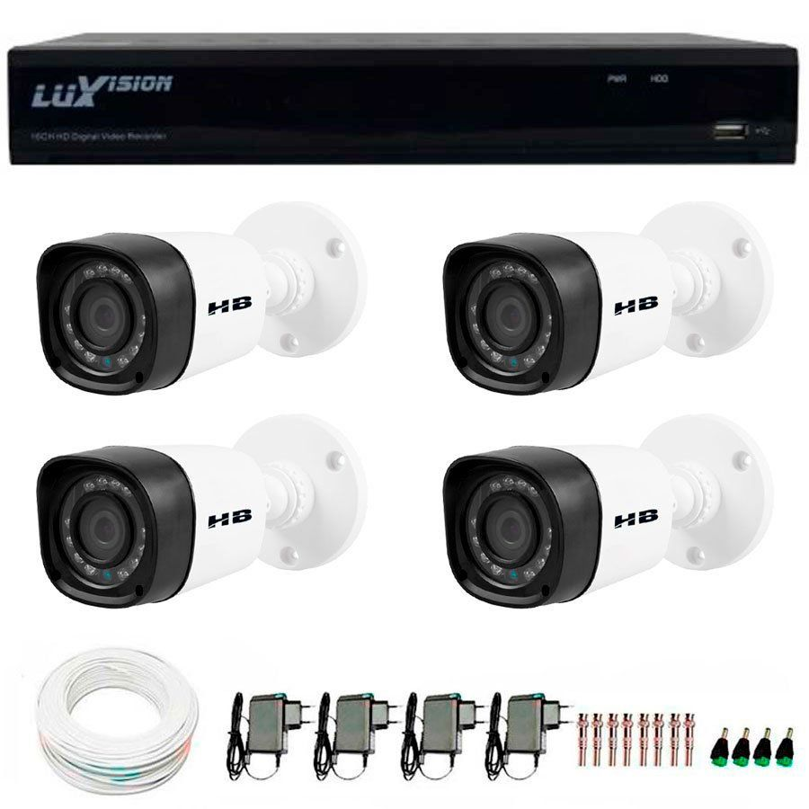 Kit 4 Câmeras de Segurança HB Tech HD 720p + DVR Luxvision All HD 5 em 1 ECD + Acessórios  - Tudo Forte