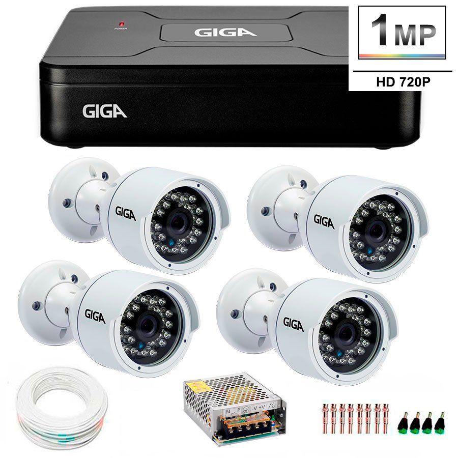 Kit 4 Câmeras de Segurança HD 720p Giga Security GS0016  + DVR Giga Security Multi HD + Acessórios