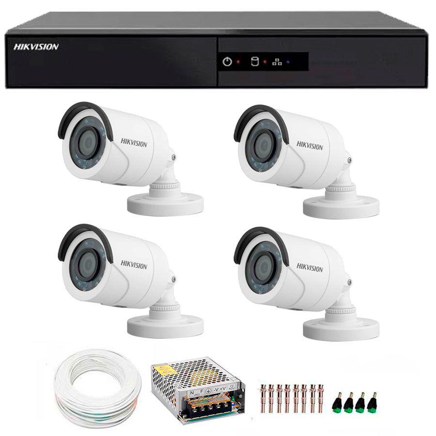 Kit 4 Câmeras de Segurança HD 720p Hikvision 20 metros + DVR Hikvision + Acessórios