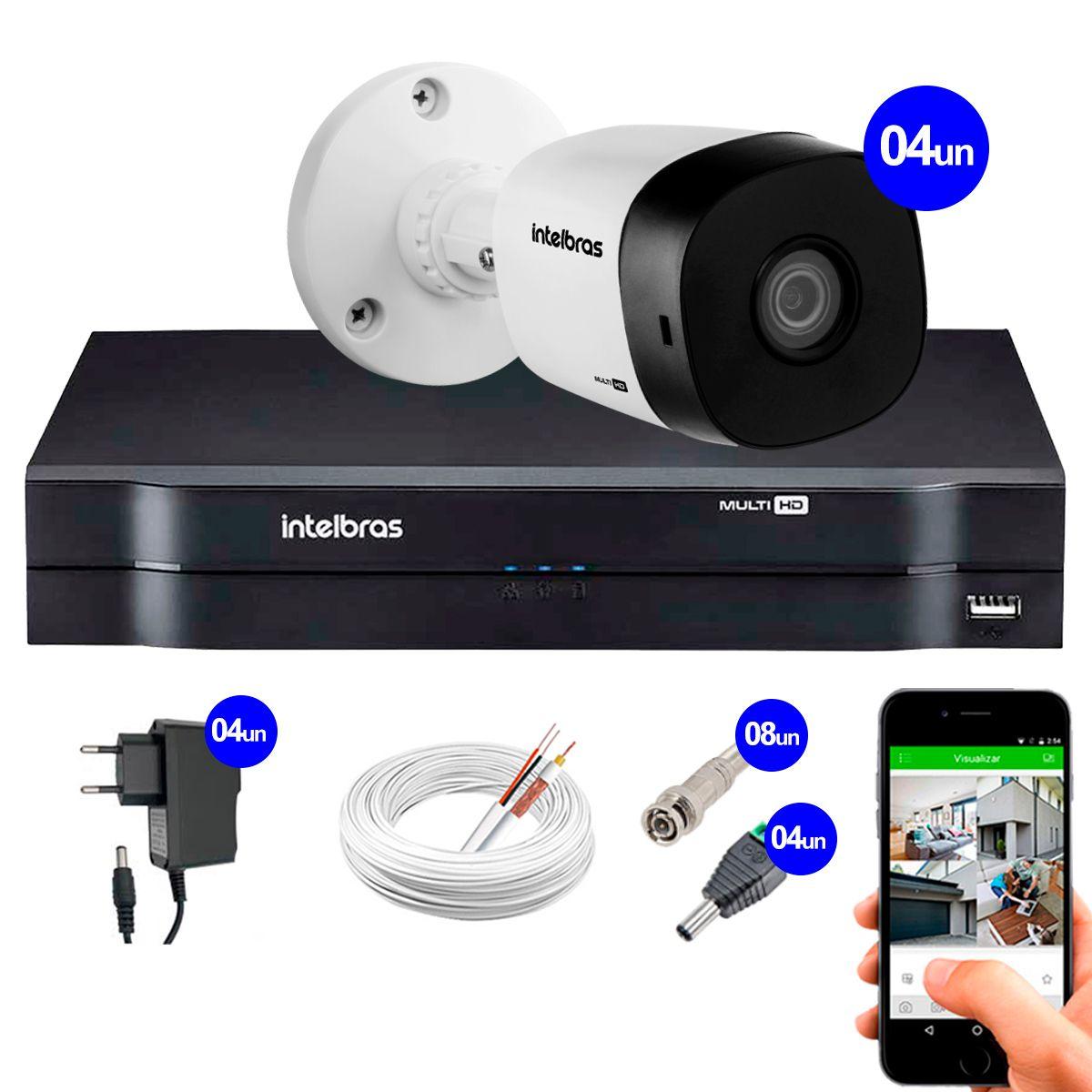 Kit 4 Câmeras VHD 1120 B G5 + DVR Intelbras + App Grátis de Monitoramento, Câmeras HD 720p 20m Infravermelho de Visão Noturna Intelbras + Fonte, Cabos e Acessórios  - Tudo Forte