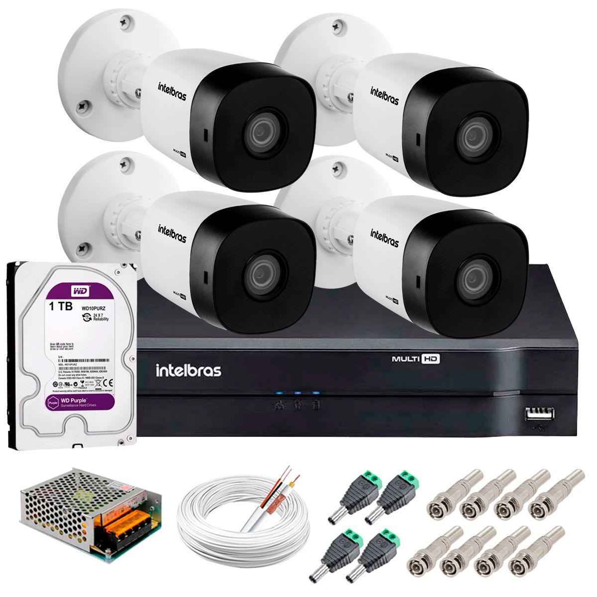 Kit 4 Câmeras VHD 3130 B G5 + DVR Intelbras + HD 1TB para Armazenamento +  App Grátis de Monitoramento, Câmeras HD 720p 30m Infravermelho de Visão Noturna Intelbras + Fonte, Cabos e Acessórios  - Tudo Forte
