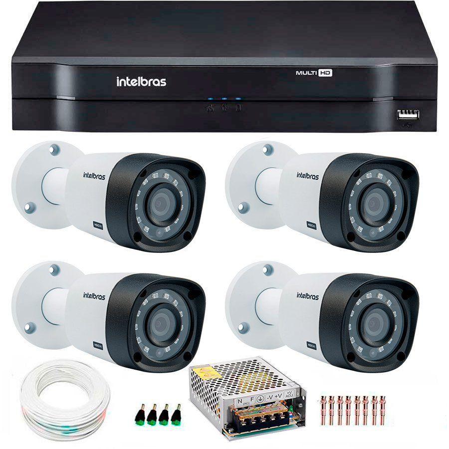 Kit 4 Câmeras de Segurança HD 720p Intelbras VHD 3130B G4 + DVR Intelbras Multi HD + Acessórios