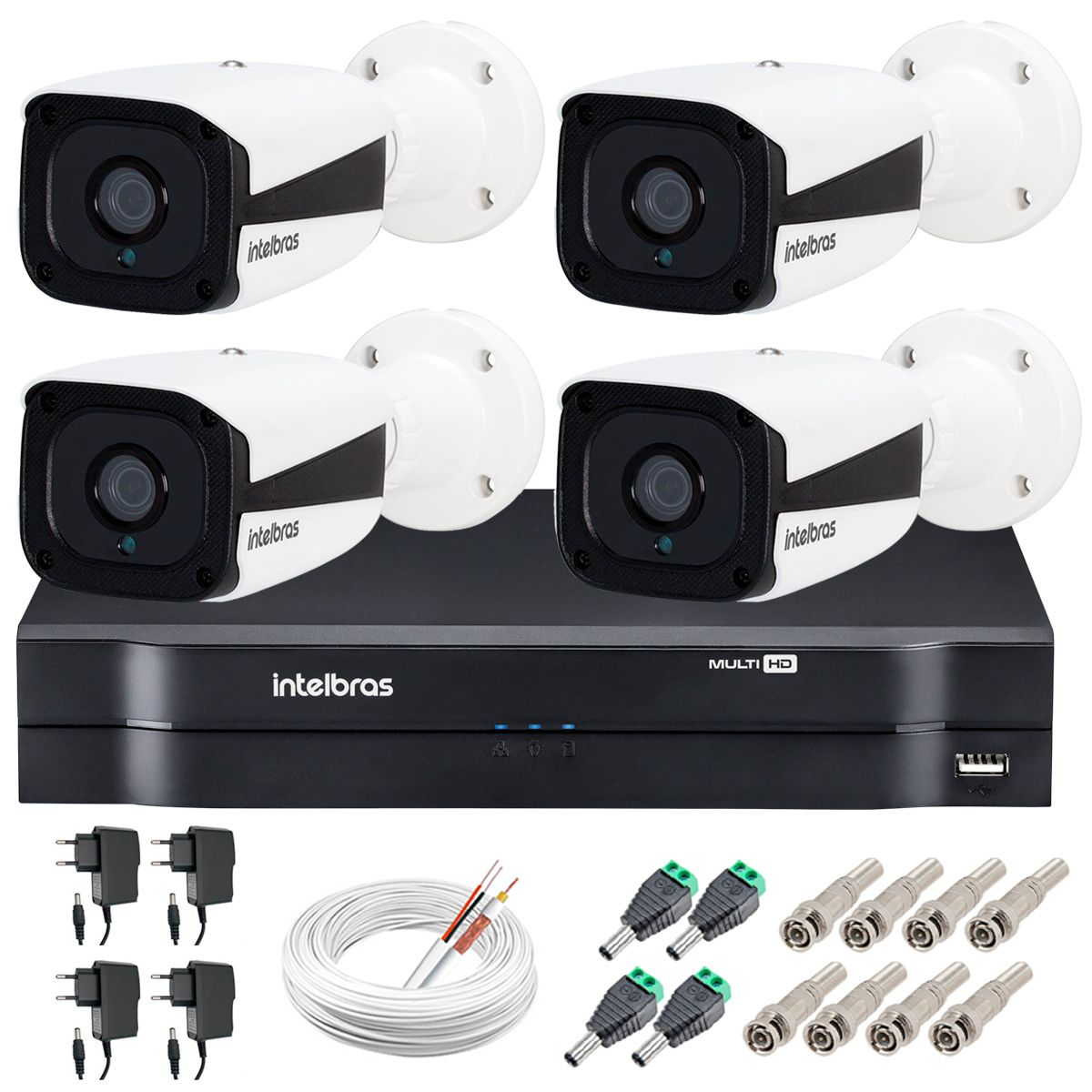Kit Intelbras 4 Câmeras HD 720p VMH 3130 B + DVR Intelbras + Acessórios  - Tudo Forte