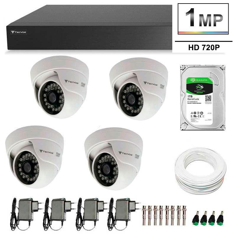 Kit 4 Câmeras de Segurança HD 720p Tecvoz Flex QDM 128P - DVR Tecvoz Flex 4 em 1 + HD 1TB + Acessórios