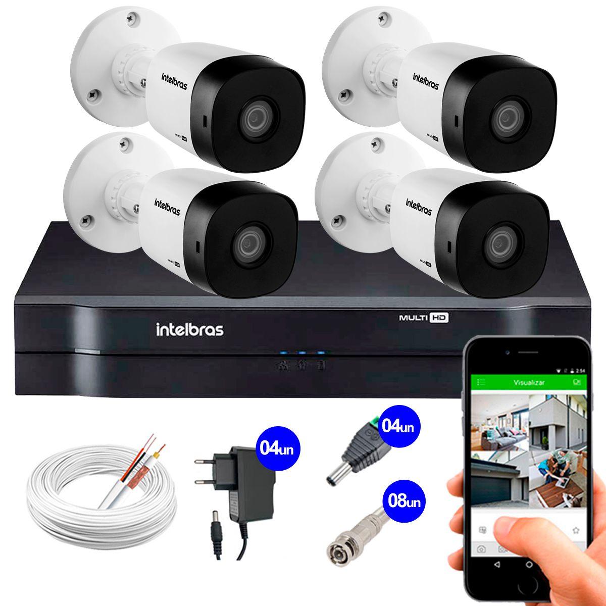 Kit 4 Câmeras VHD 1010 B G5 + DVR Intelbras + App Grátis de Monitoramento, Câmeras HD 720p 10m Infravermelho de Visão Noturna Intelbras + Fonte, Cabos e Acessórios  - Tudo Forte