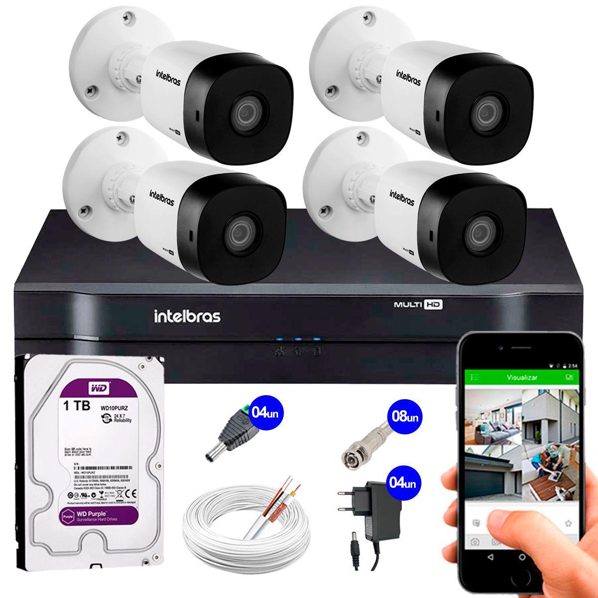 Kit 4 Câmeras VHD 1010 B G5 + DVR Intelbras + HD 1TB para Armazenamento + App Grátis de Monitoramento, Câmeras HD 720p 10m Infravermelho de Visão Noturna Intelbras + Fonte, Cabos e Acessórios  - Tudo Forte