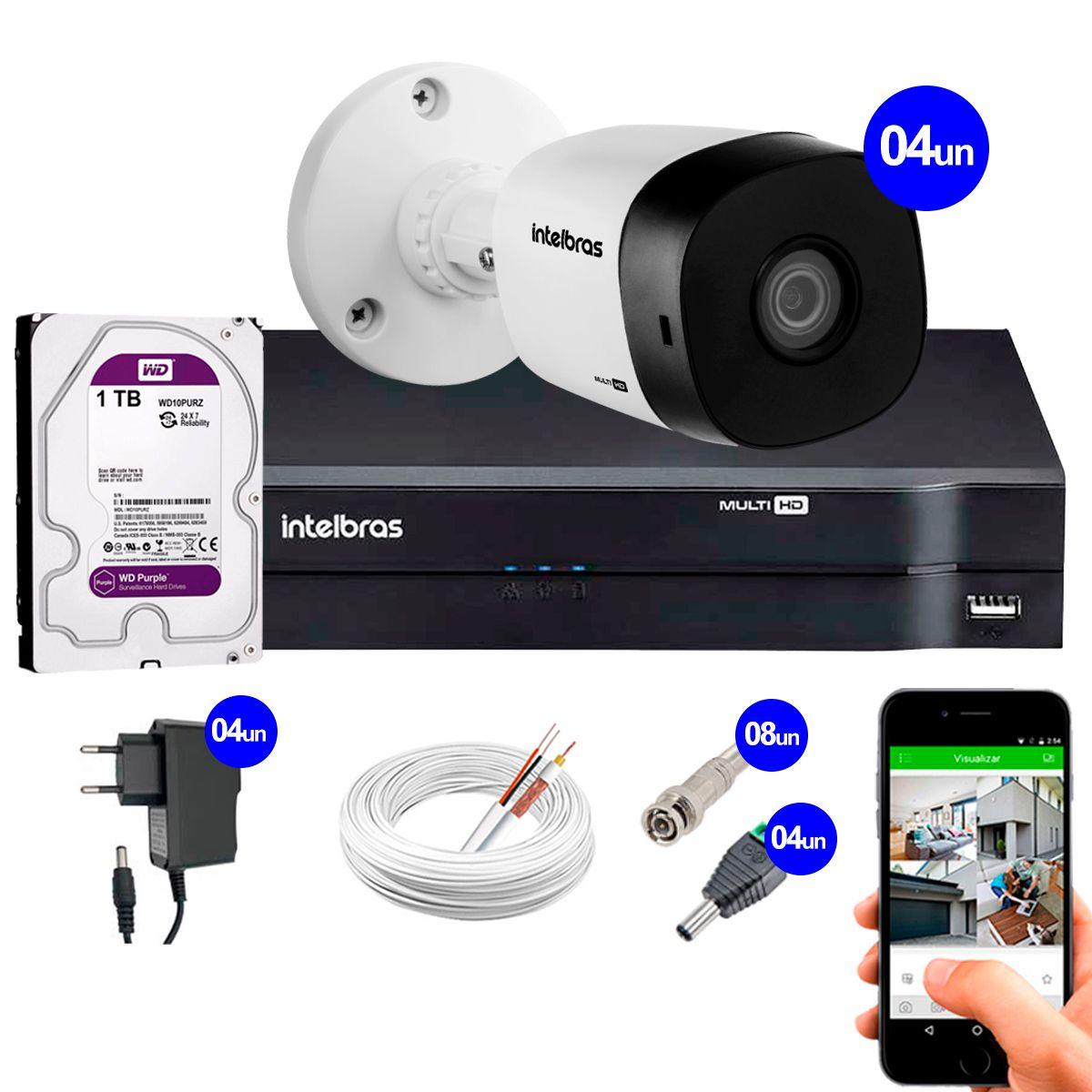 Kit 4 Câmeras VHD 1120 B G5 + DVR Intelbras + HD 1TB para Armazenamento + App Grátis de Monitoramento, Câmeras HD 720p 20m Infravermelho de Visão Noturna Intelbras + Fonte, Cabos e Acessórios  - Tudo Forte