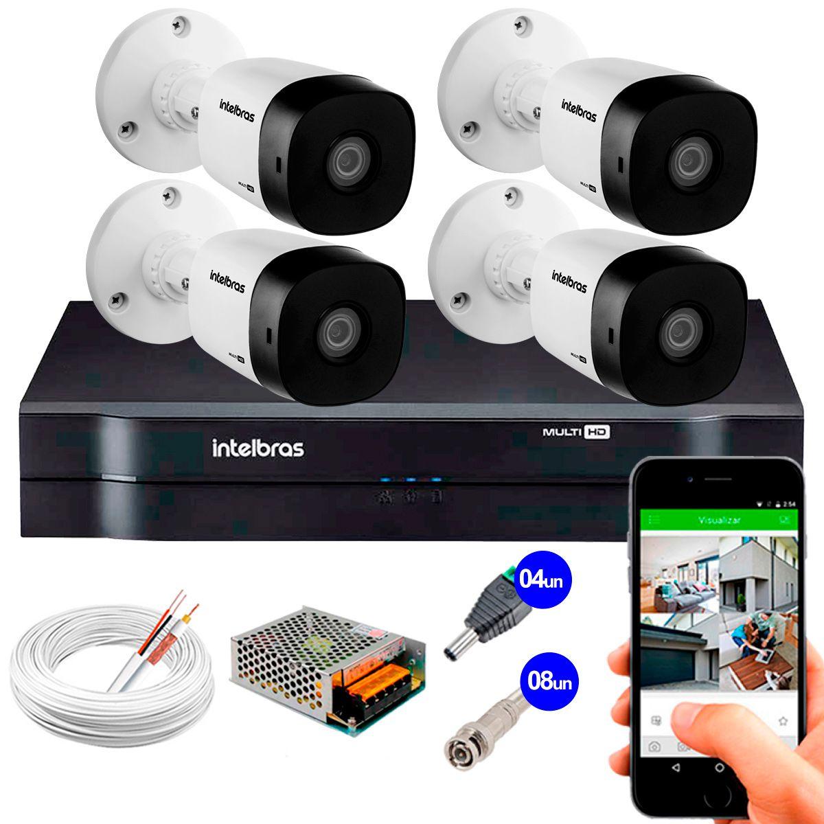 Kit 4 Câmeras VHD 3120 B G5 + DVR Intelbras + App Grátis de Monitoramento, Câmeras HD 720p 20m Infravermelho de Visão Noturna Intelbras + Fonte, Cabos e Acessórios  - Tudo Forte